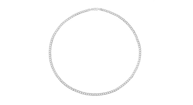 "Silver Men's 24"" Curb Chain"