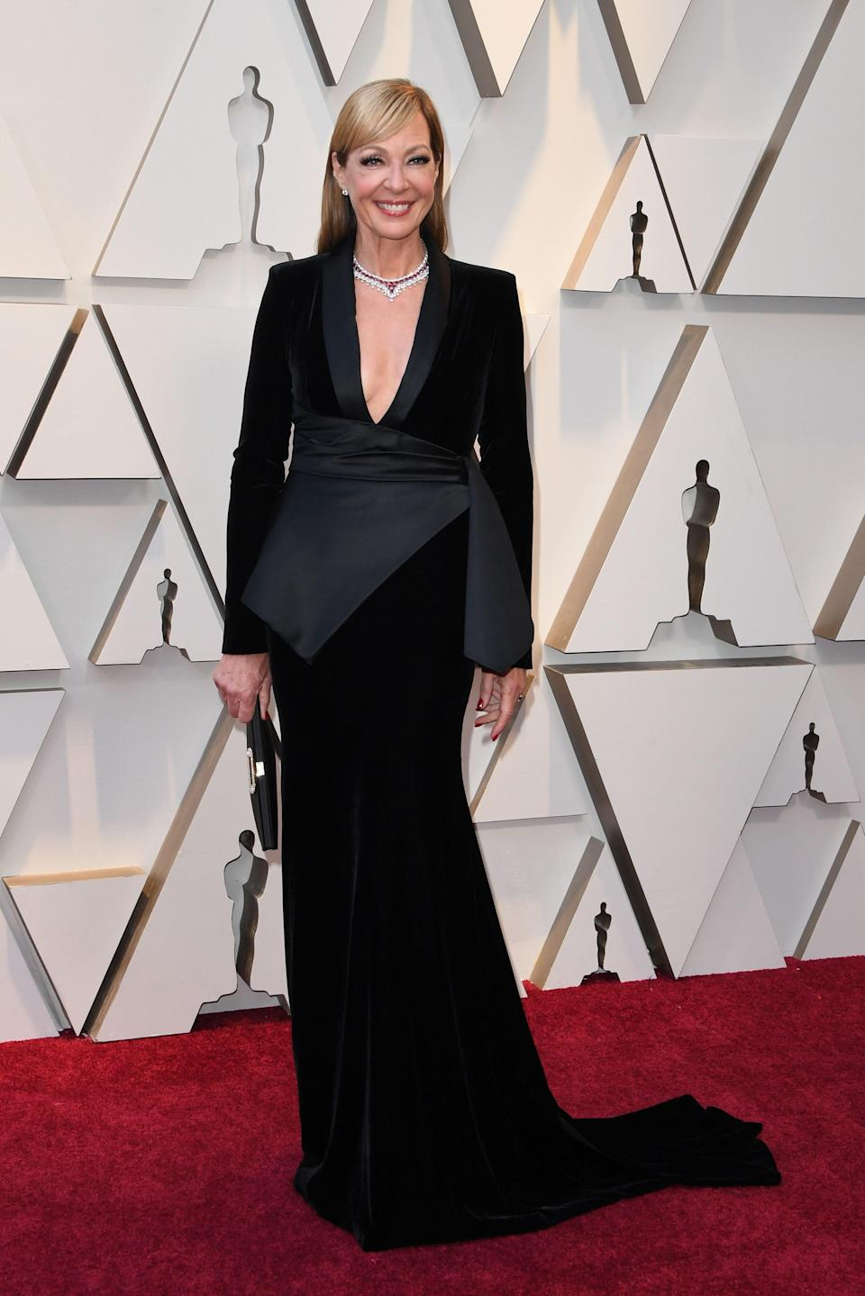 """<p>The Oscar winner for """"I, Tonya"""" wore a menswear inspired look with velvet detailing by Pamella Roland. (Image via Getty Images) </p>"""