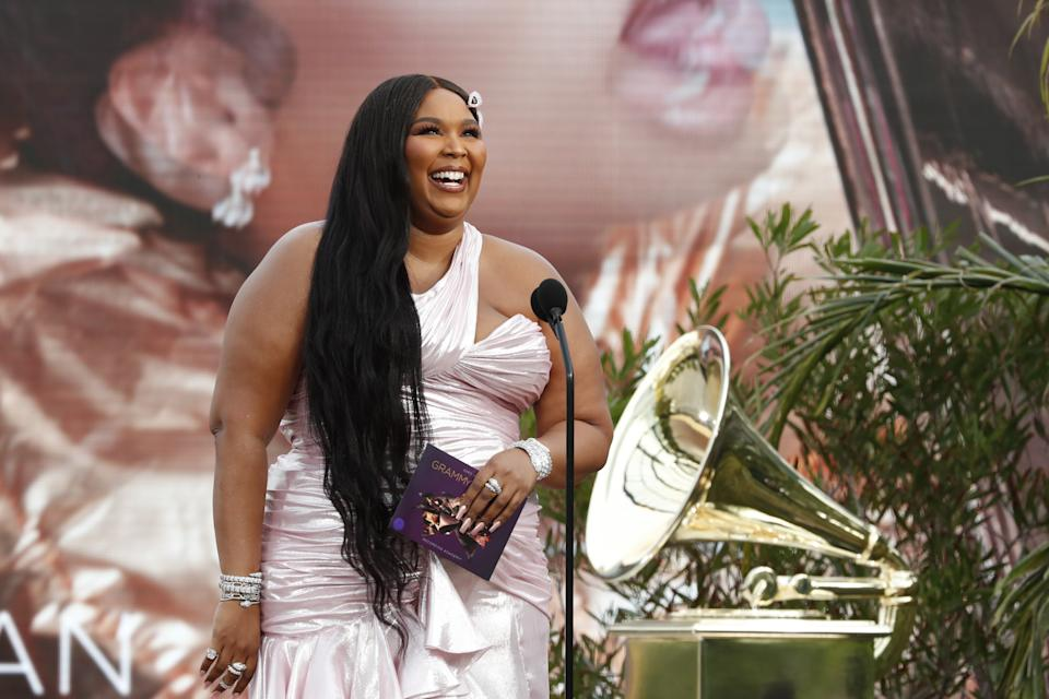 LOS ANGELES - MARCH 14: Lizzo presents the award for BEST NEW ARTIST at THE 63rd ANNUAL GRAMMY® AWARDS, broadcast live from the STAPLES Center in Los Angeles, Sunday, March 14, 2021 (8:00-11:30 PM, live ET/5:00-8:30 PM, live PT) on the CBS Television Network and Paramount+. (Photo by Cliff Lipson/CBS via Getty Images)