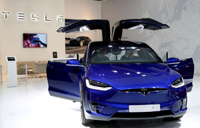 FILE PHOTO: A Tesla Model X electric car at the Brussels Motor Show
