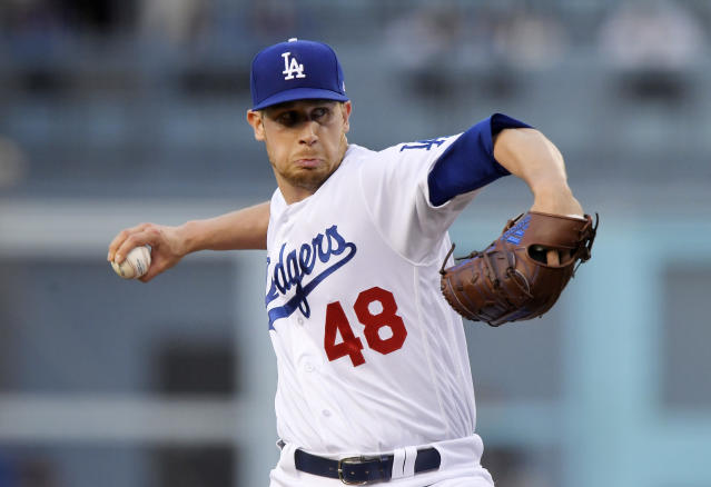 Los Angeles Dodgers starting pitcher Brock Stewart throws during the first inning of the team's baseball game against the Colorado Rockies on Tuesday, May 22, 2018, in Los Angeles. (AP Photo/Mark J. Terrill)