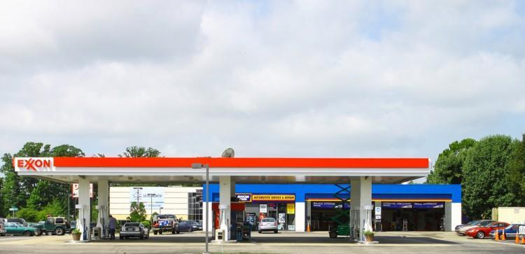 Exxon Mobil Corporation (NYSE:XOM), Gas Station, Oil, Fuel, Logo, Sign,