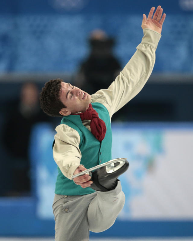 Javier Raya of Spain competes in the men's short program figure skating competition at the Iceberg Skating Palace during the 2014 Winter Olympics, Thursday, Feb. 13, 2014, in Sochi, Russia. (AP Photo/Ivan Sekretarev)
