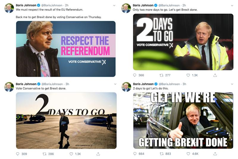 A selection of Boris Johnson's 'get Brexit done' tweets posted on December 10, 2019
