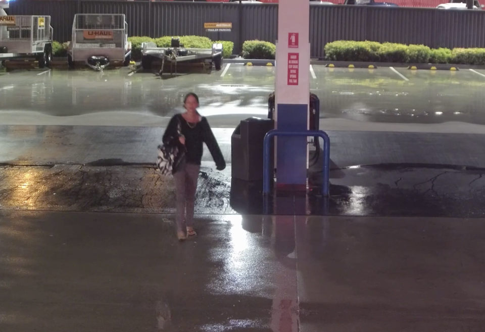 Natarn Auld, 38, is seen on CCTV outside a service station on Redland Bay Road, Capalaba.