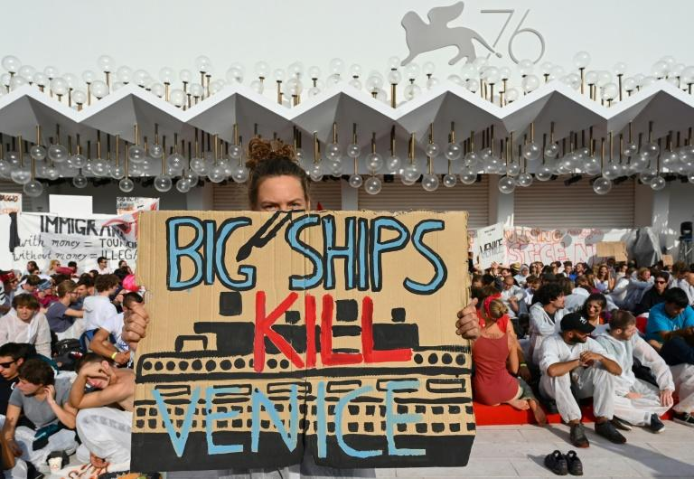 "Members of Venice's ""No Big Ships"" Committee (No Grandi Navi) protest against the cruise ships that sail into in the Venice lagoon"