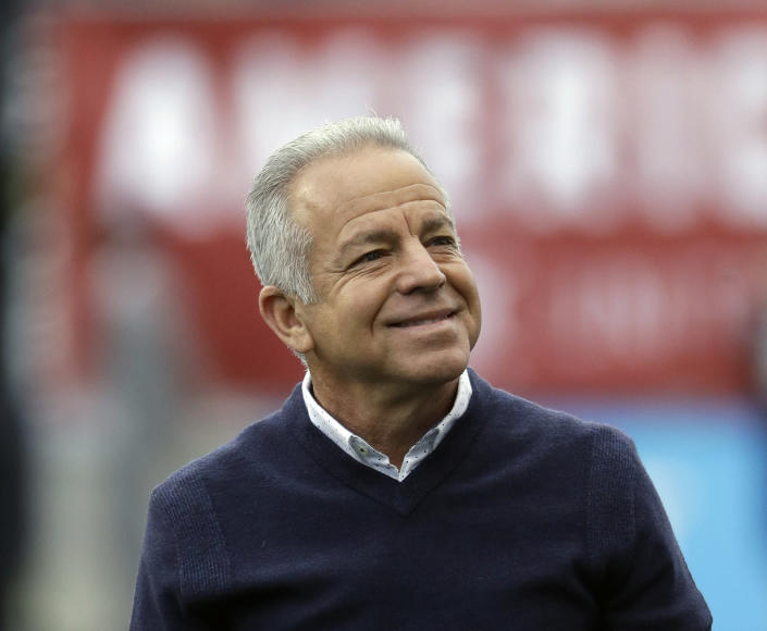 FILE - In this May 28, 2018, file photo, United States' Dave Sarachan smiles during an international friendly soccer match against Bolivia, in Chester, Pa. Former U.S. interim coach Dave Sarachan has been hired as coach of Puerto Rico's soccer team. The 66-year-old Sarachan will lead Puerto Rico in qualifying for the 2022 World Cup, the Puerto Rican Football Federation said Wednesday, Feb. 24, 2021. (AP Photo/Matt Slocum, File)