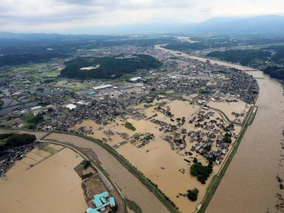 An aerial view of the floods in Hitoyoshi, Kumamoto prefecture, southwestern Japan, 4 July 2020 (EPA)