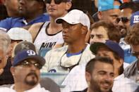 <p>Tiger Woods attends game two of the 2017 World Series between the Houston Astros and the Los Angeles Dodgers at Dodger Stadium on October 25, 2017 in Los Angeles, California. (Photo by Christian Petersen/Getty Images) </p>