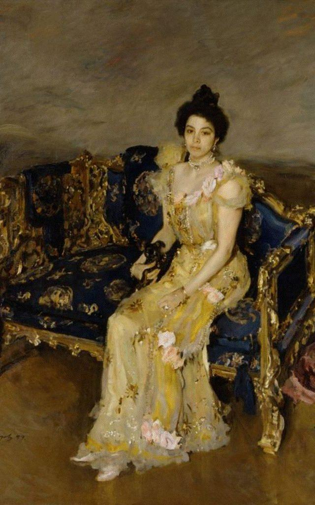 Sophia Botkina holding a Russian Toy, painted in 1899 by Valentin Serov  - Credit: State Russian Museum, St. Petersburg