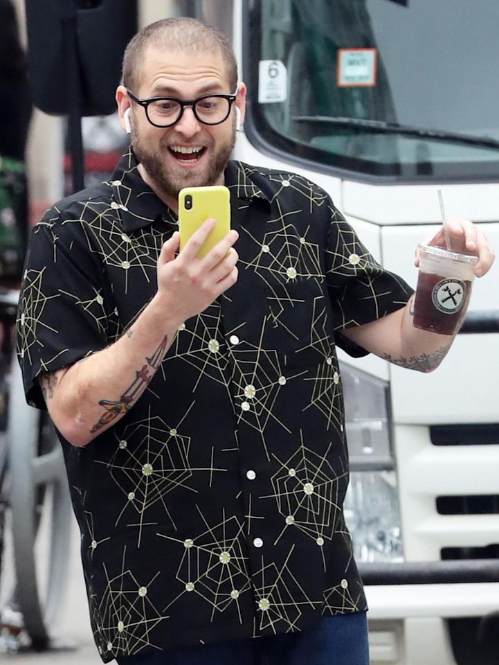 "<p>Jonah Hill looks totally pumped to have a handle on this iced coffee, but we think about this photo of him <a href=""https://people.com/movies/jonah-hill-responds-to-meme-about-him-dropping-his-coffee/#:~:text=Never%20Forget%20You'-,Jonah%20Hill%20Responds%20to%20Meme%20About%20Him%20Dropping%20His%20Coffee,I'll%20Never%20Forget%20You'&text=The%20actor%20inadvertently%20became%20a,cool%2C%20calm%2C%20and%20collected."">dropping another, less secure iced coffee</a> a latte, too. </p>"