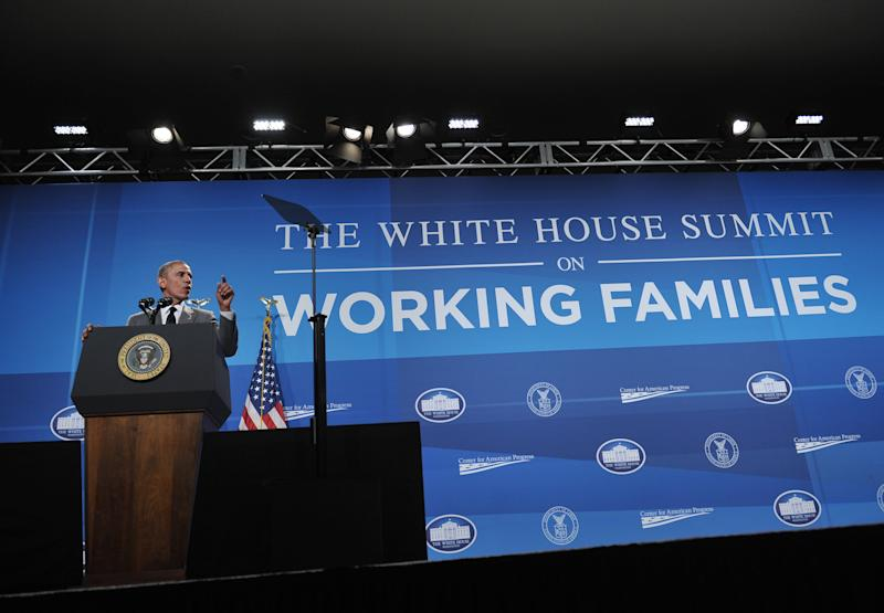 US President Barack Obama addresses the White House Summit on Working Families on June 23, 2014 in Washington