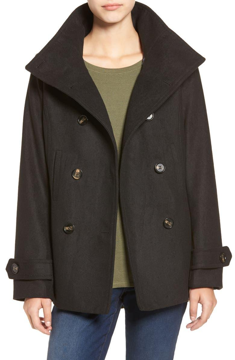 Thread & Supply Double Breasted Peacoat in Black. Image via Nordstrom.
