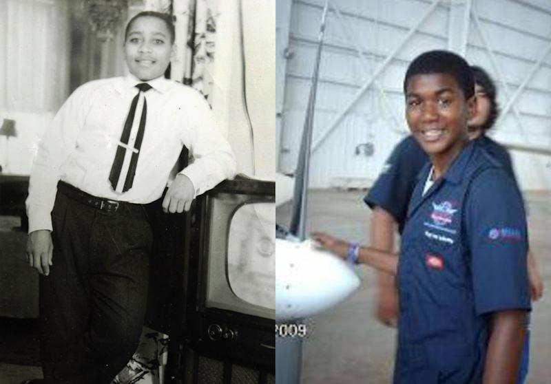 FILE - This combination of photos from 1955 and 2009 shows Emmett Till in Chicago, about six months before he was killed, and Trayvon Martin in an aircraft hanger. Six decades and myriad details separate the deaths of Till and Martin, two black teenagers felled by violence. Yet in the way America reacted to Trayvon's death - and the issues that echoed afterward - his case has created a national racial conversation in the much same manner as the saga of Emmett, infamously murdered in 1955 for flirting with a white woman. (AP Photo/File)