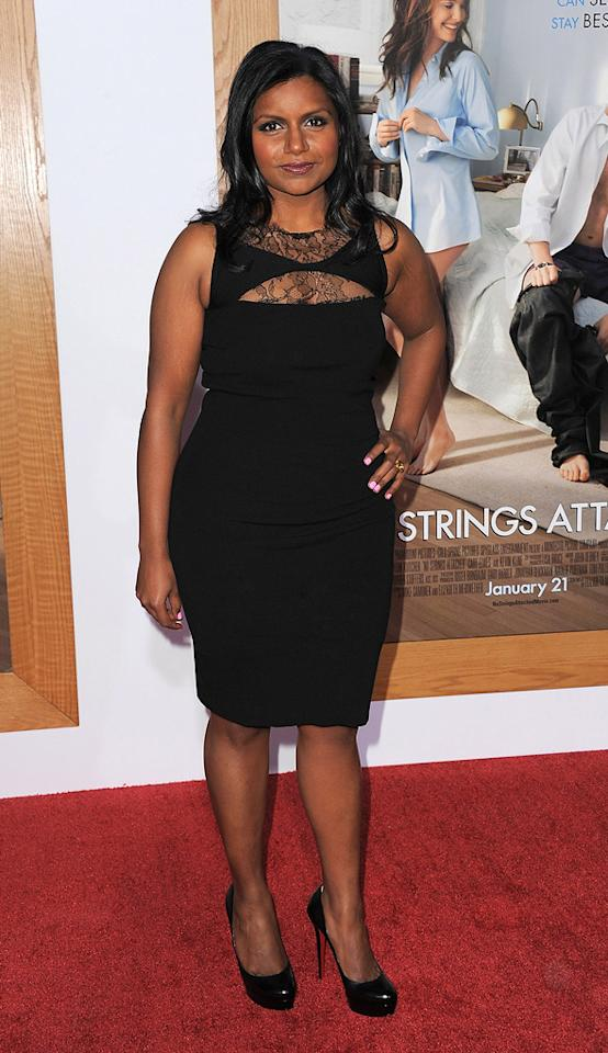 """<a href=""""http://movies.yahoo.com/movie/contributor/1809234849"""">Mindy Kaling</a> attends the Los Angeles premiere of <a href=""""http://movies.yahoo.com/movie/1810159162/info"""">No Strings Attached</a> on January 11, 2011."""