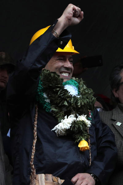 "Luis Fernando Camacho, opposition leader and president of the Civic Committee Pro Santa Cruz, attends a rally with the coca leaf growers in La Paz, Bolivia, Thursday, Nov. 7, 2019. The United Nations on Thursday urged Bolivia's government and opposition to restore ""dialogue and peace"" after a third person was killed in street clashes that erupted after a disputed presidential election on Oct. 20. (AP Photo/Juan Karita)"