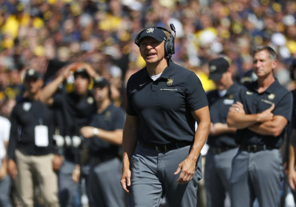 Army coach Jeff Monken watches during the first half of the team's NCAA college football game against Michigan in Ann Arbor, Mich. (AP)