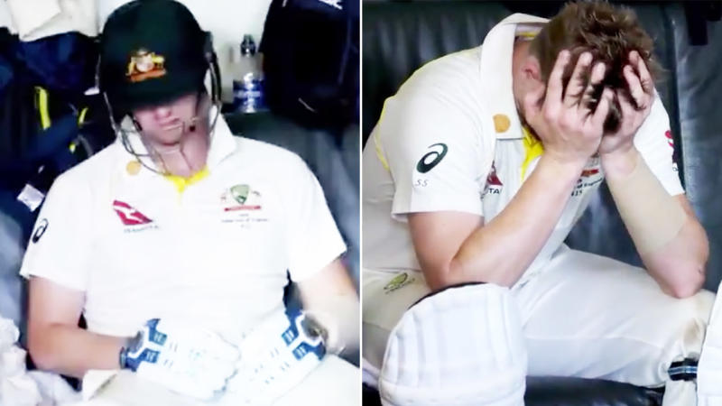 Steve Smith, pictured here after his horror moment in the 2019 Ashes series.
