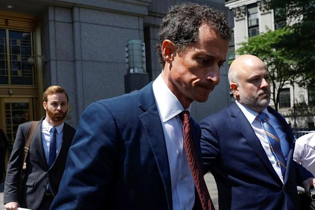 "<p>Former U.S. Congressman Anthony Weiner exits U.S. Federal Court with attorney Arlo Devlin-Brown (R) in New York City, May 19, 2017, after pleading guilty to one count of sending obscene messages to a minor, ending an investigation into a ""sexting"" scandal that played a role in last year's U.S. presidential election. (Photo: Brendan McDermid/Reuters) </p>"
