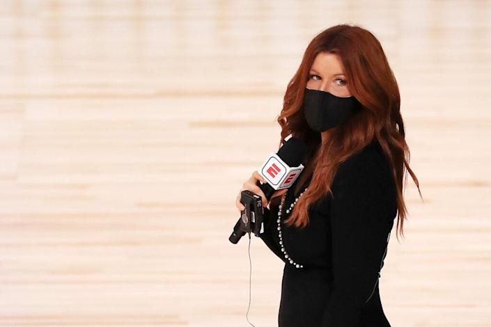 LAKE BUENA VISTA, FLORIDA – JULY 31: ESPN reporter Rachel Nichols stands on the court before a game between the Houston Rockets and the Dallas Mavericks at The Arena at ESPN Wide World Of Sports Complex on July 31, 2020 in Lake Buena Vista, Florida. NOTE TO USER: User expressly acknowledges and agrees that, by downloading and or using this photograph, User is consenting to the terms and conditions of the Getty Images License Agreement. (Photo by Mike Ehrmann/Getty Images)