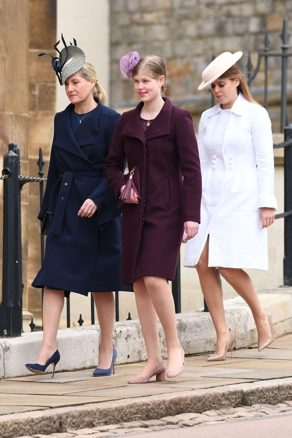 """<p>The royal ladies are seen here marching down the hill to <a href=""""https://www.townandcountrymag.com/society/tradition/a14392230/st-george-chapel-windsor-castle-meghan-markle-prince-harry-wedding-venue/"""" rel=""""nofollow noopener"""" target=""""_blank"""" data-ylk=""""slk:St. George's Chapel."""" class=""""link rapid-noclick-resp"""">St. George's Chapel.</a></p><p><strong><a href=""""https://www.townandcountrymag.com/society/tradition/a14501238/lady-louise-windsor-facts/"""" rel=""""nofollow noopener"""" target=""""_blank"""" data-ylk=""""slk:More: Who Is the Queen's Granddaughter, Lady Louise?"""" class=""""link rapid-noclick-resp"""">More: Who Is the Queen's Granddaughter, Lady Louise?</a></strong><br></p>"""