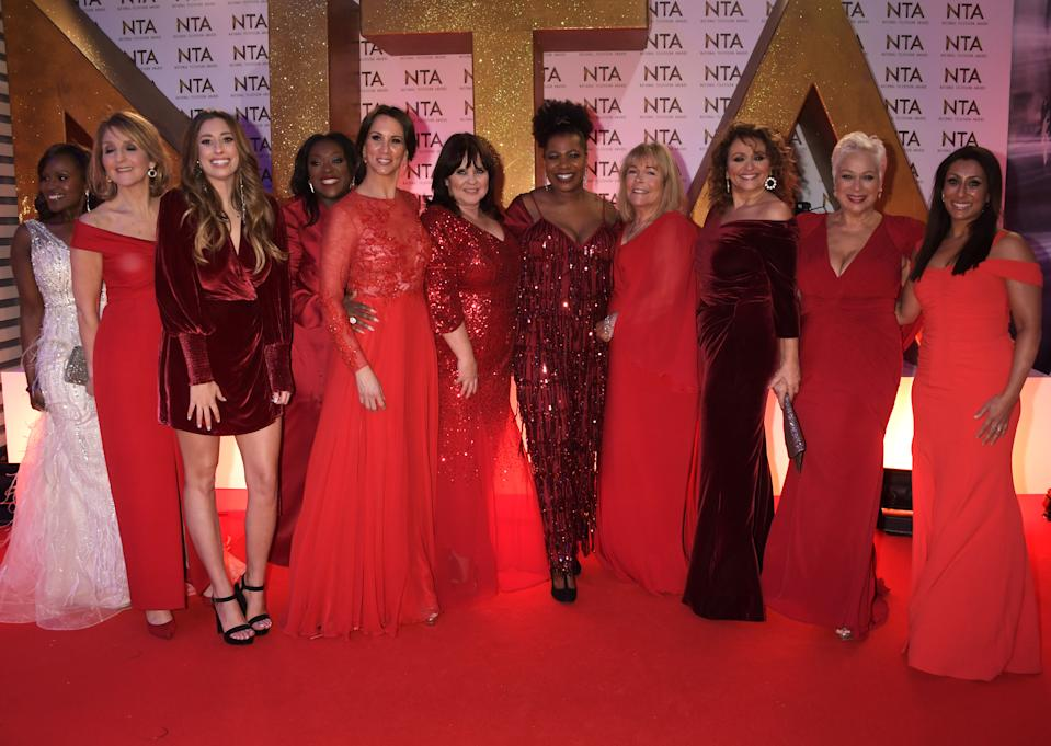 Kelle Bryan, Kaye Adams, Stacey Solomon, Judi Love, Andrea McLean, Coleen Nolan, Brenda Edwards, Linda Robson, Nadia Sawalha, Denise Welch and Saira Khan of Loose Women attend the National Television Awards 2020 at The O2 Arena on January 28, 2020 in London, England. (Photo by David M. Benett/Dave Benett/Getty Images)