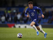 Chelsea's Mason Mount controls the ball during the English Premier League soccer match between Chelsea and Leicester City at Stamford Bridge Stadium in London, Tuesday, May 18, 2021. (Peter Cziiborra/Pool via AP)