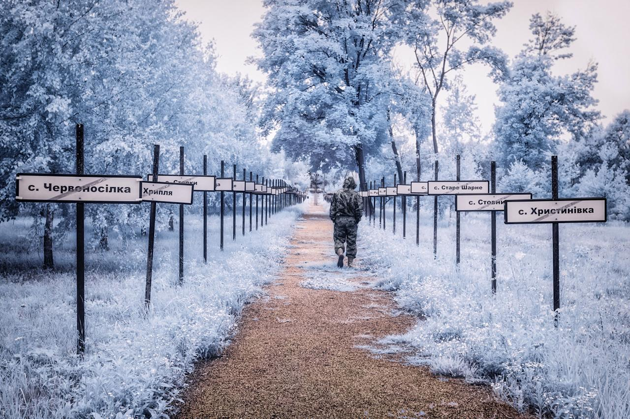 <p>The monumental trail lined with the names of the evacuated villages. (Photo: Vladimir Mitgutin/Caters News) </p>