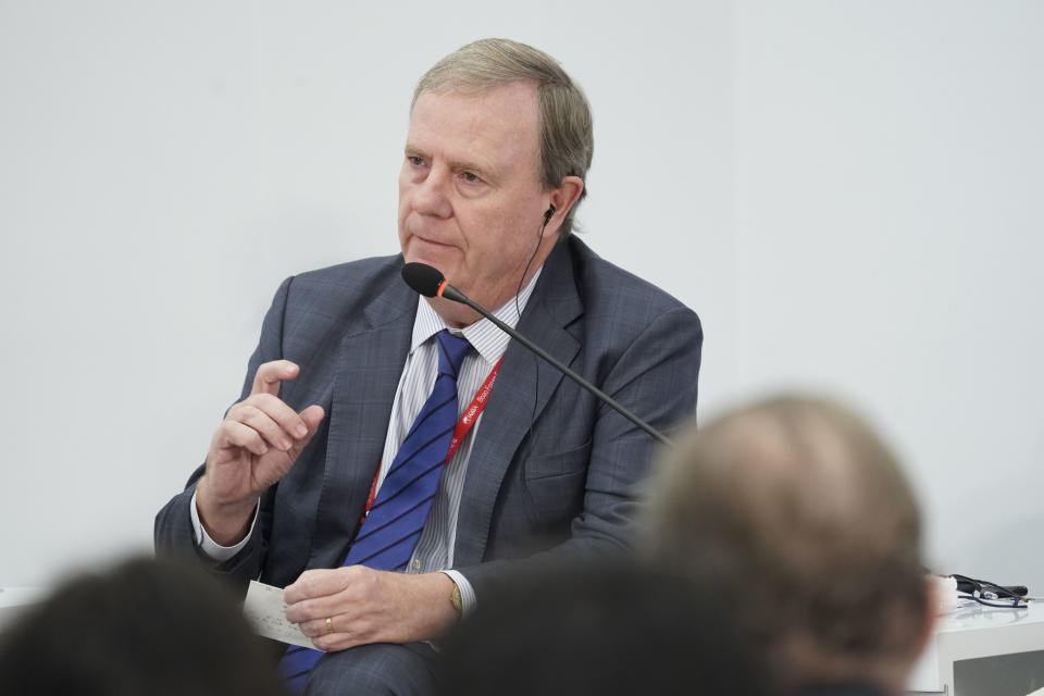 BOAO, CHINA - APRIL 11:  Chairman of Australia's Future Fund Peter Costello speaks during a session on 'Tax Cuts: A Global Race to the Bottom' at the Boao Forum for Asia Annual Conference 2018 on April 11, 2018 in Boao, Hainan Province of China. The theme of this year's annual conference is