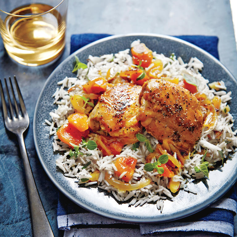 "This vibrant chicken dish gets a sweetened upgrade from a honey and apricot glaze.  <a rel=""nofollow"" href=""http://www.myrecipes.com/recipe/honey-apricot-glazed-chicken"">Honey-Apricot-Glazed Chicken </a>"