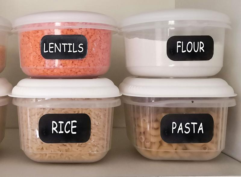 Pantry staples in clear containers