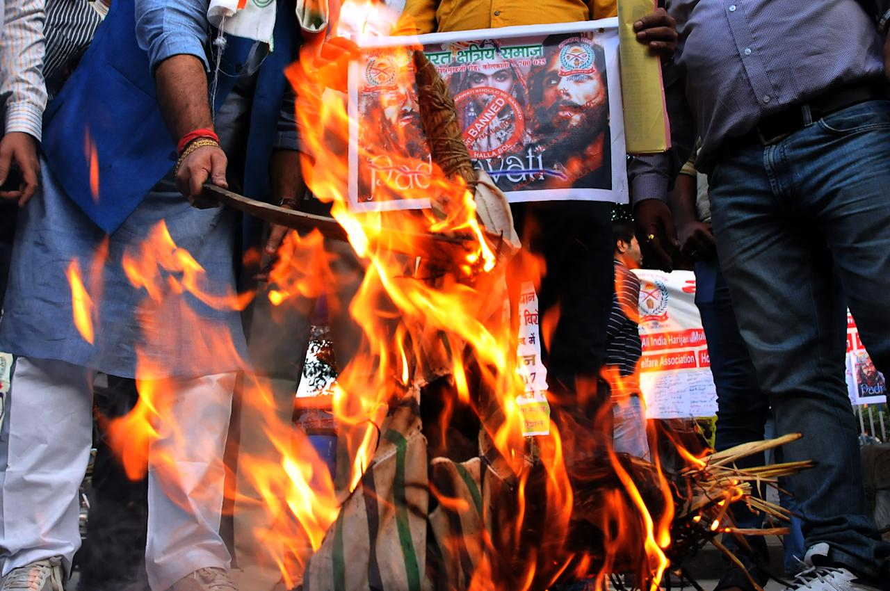 <p>Akhil Bhartiya Shakti Samaj launched a signature campaign ,Bran effigy of Film Director Sanjay Leela Bhansali and protest against the release of the upcoming Bollywood movie ' Padmavati' in Kolkata,India. (Photo by Debajyoti Chakraborty/NurPhoto via Getty Images) </p>