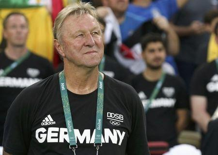 2016 Rio Olympics - Soccer - Final - Men's Football Tournament Gold Medal Match Brazil vs Germany - Maracana - Rio de Janeiro, Brazil - 20/08/2016. Germany's coach Horst Hrubesch looks on before the match. REUTERS/Marcos Brindicci/Files