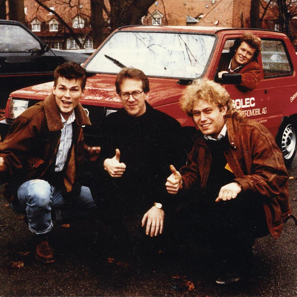 (L-r) Morten Harket, Harald Røstvik, Frederic Hauge and Magne Furuholmen in front of Norway's and Bellona's first electric car - Bellona Foundation