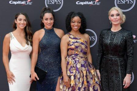 Jul 18, 2018; Los Angeles, CA, USA; American gymnasts Aly Raisman, Jordyn Wieber, Tiffany Thomas Lopez and Sarah Klein arrive for the 2018 ESPYS at Microsoft Theatre. Mandatory Credit: Kirby Lee-USA TODAY Sports