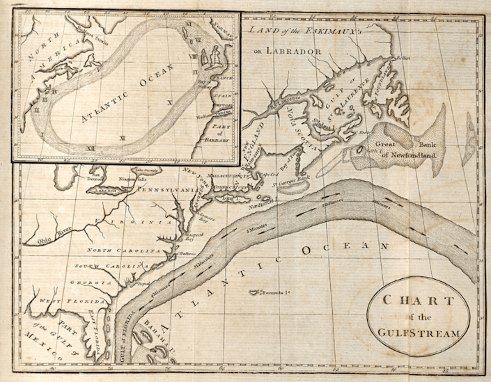 In 1769, Ben Franklin became the first person to map the Gulf Stream when he made the above chart. (NOAA)