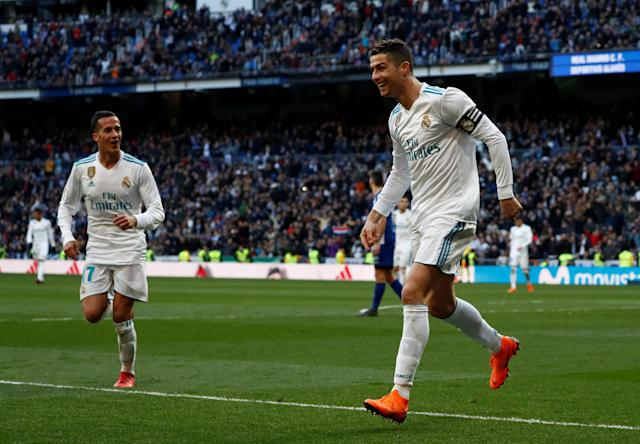 Soccer Football - La Liga Santander - Real Madrid vs Deportivo Alaves - Santiago Bernabeu, Madrid, Spain - February 24, 2018 Real Madrid's Cristiano Ronaldo celebrates scoring their third goal REUTERS/Juan Medina