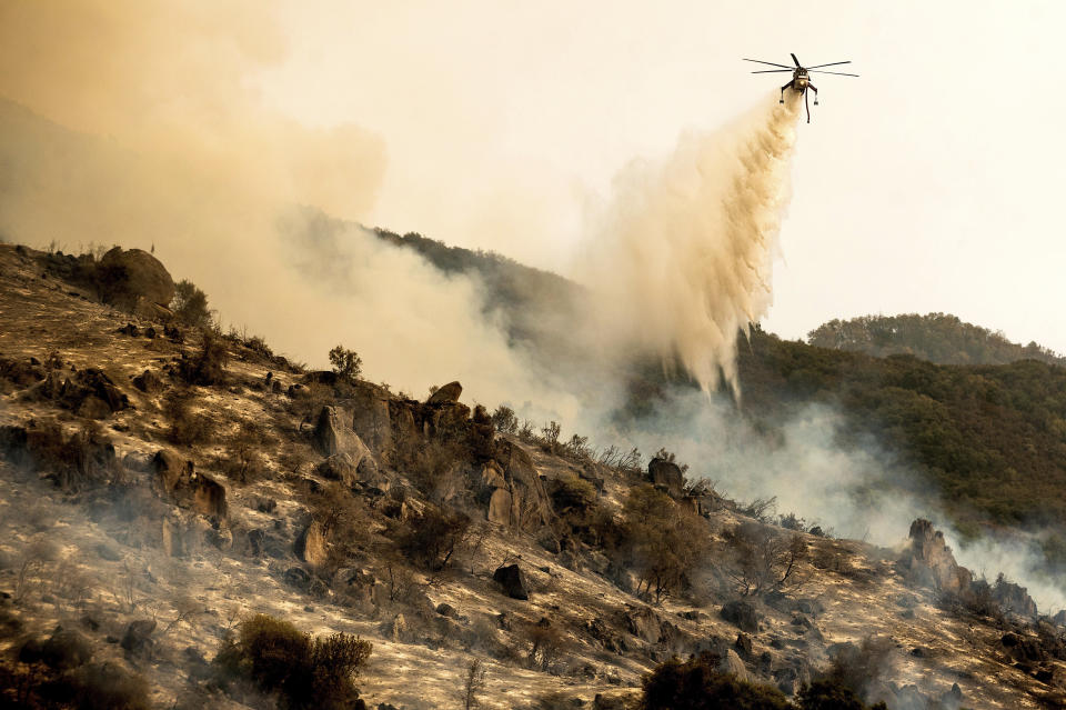 A helicopter drops water on the KNP Complex Fire burning along Generals Highway in Sequoia National Park, Calif., on Wednesday, Sept. 15, 2021. The blaze is burning near the Giant Forest, home to more than 2,000 giant sequoias. (AP Photo/Noah Berger)