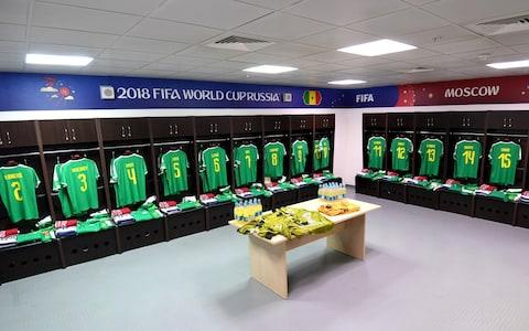 General view inside Senegal dressing room prior to the 2018 FIFA World Cup Russia group H match between Poland and Senegal - Credit: FIFA