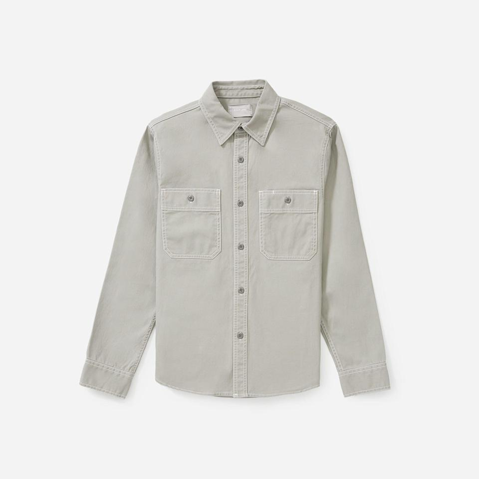 """<p><strong>Everlane</strong></p><p>everlane.com</p><p><strong>$53.00</strong></p><p><a href=""""https://go.redirectingat.com?id=74968X1596630&url=https%3A%2F%2Fwww.everlane.com%2Fproducts%2Fmens-modern-overshirt-shale&sref=https%3A%2F%2Fwww.esquire.com%2Fstyle%2Fmens-fashion%2Fg33391536%2Feverlane-summer-sale%2F"""" rel=""""nofollow noopener"""" target=""""_blank"""" data-ylk=""""slk:Buy"""" class=""""link rapid-noclick-resp"""">Buy</a></p><p>A sturdy overshirt in a perfectly faded, dusty shade of grey. </p>"""