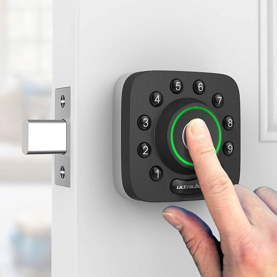 <p>Easily the coolest and most innovative part of the <span>U-Bolt Smart Lock</span> ($179) is the fingerprint unlock feature. Use your smartphone to log your fingerprints, and then simply touch the center of the plate to gain access to your home. You can also unlock via your smartphone, a numerical code, or, if all else fails, a physical key.</p>
