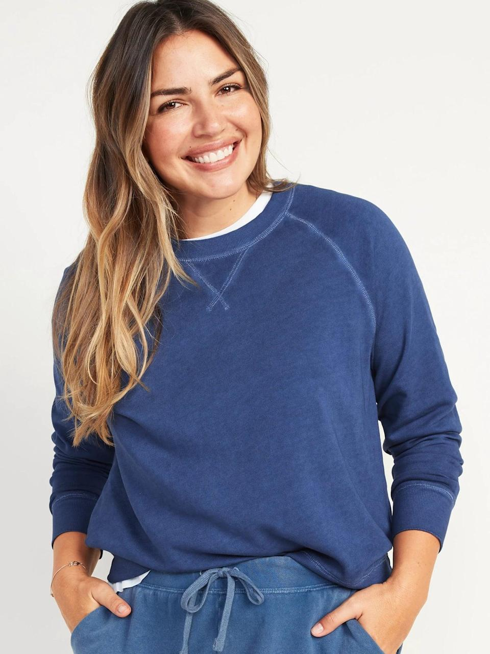 <p>This <span>Old Navy Vintage Specially Dyed Crew-Neck Sweatshirt</span> ($30) is sporty and classic. We love the navy blue, but it comes in a bunch of different colors and patterns.</p>