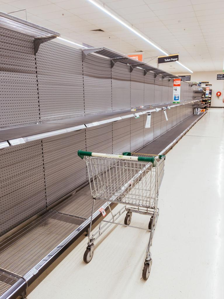 Empty shelves in a Woolworths store amid the coronavirus crisis.