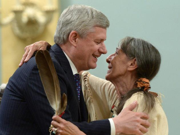 Stephen Harper hugs Elder Evelyn Commanda-Dewache, a residential school survivor, during the closing ceremony of the Indian Residential Schools Truth and Reconciliation Commission in 2015.
