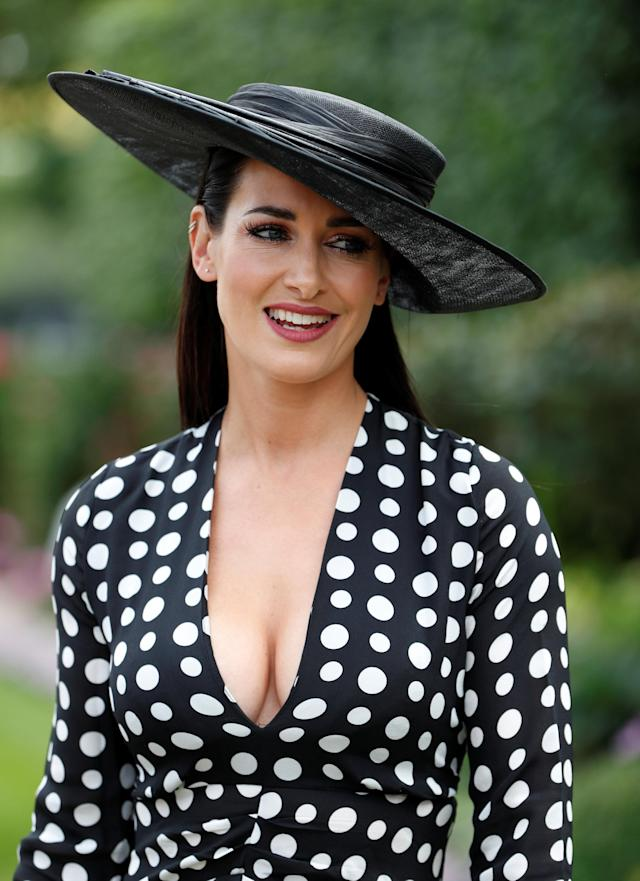 Horse Racing - Royal Ascot - Ascot Racecourse, Ascot, Britain - June 20, 2018 TV presenter Kirtsy Gallacher poses for photographs before the start of racing Action Images via Reuters/Paul Childs