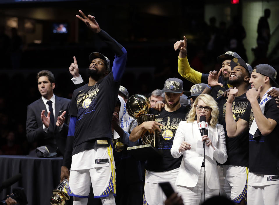 The Warriors are 8-1 in the NBA Finals since adding Kevin Durant. (AP Photo)