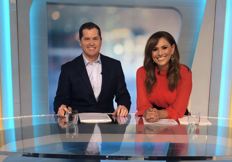 Ryan Phelan is pictured with his co-host on The Daily Edition. Source: Instagram