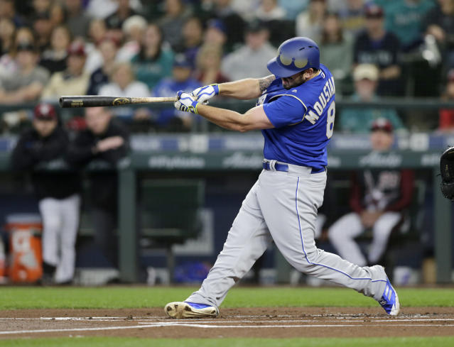Kansas City Royals' Mike Moustakas hits a three-run home run off Seattle Mariners starting pitcher Felix Hernandez during the first inning of a baseball game Saturday, June 30, 2018, in Seattle. (AP Photo/John Froschauer)
