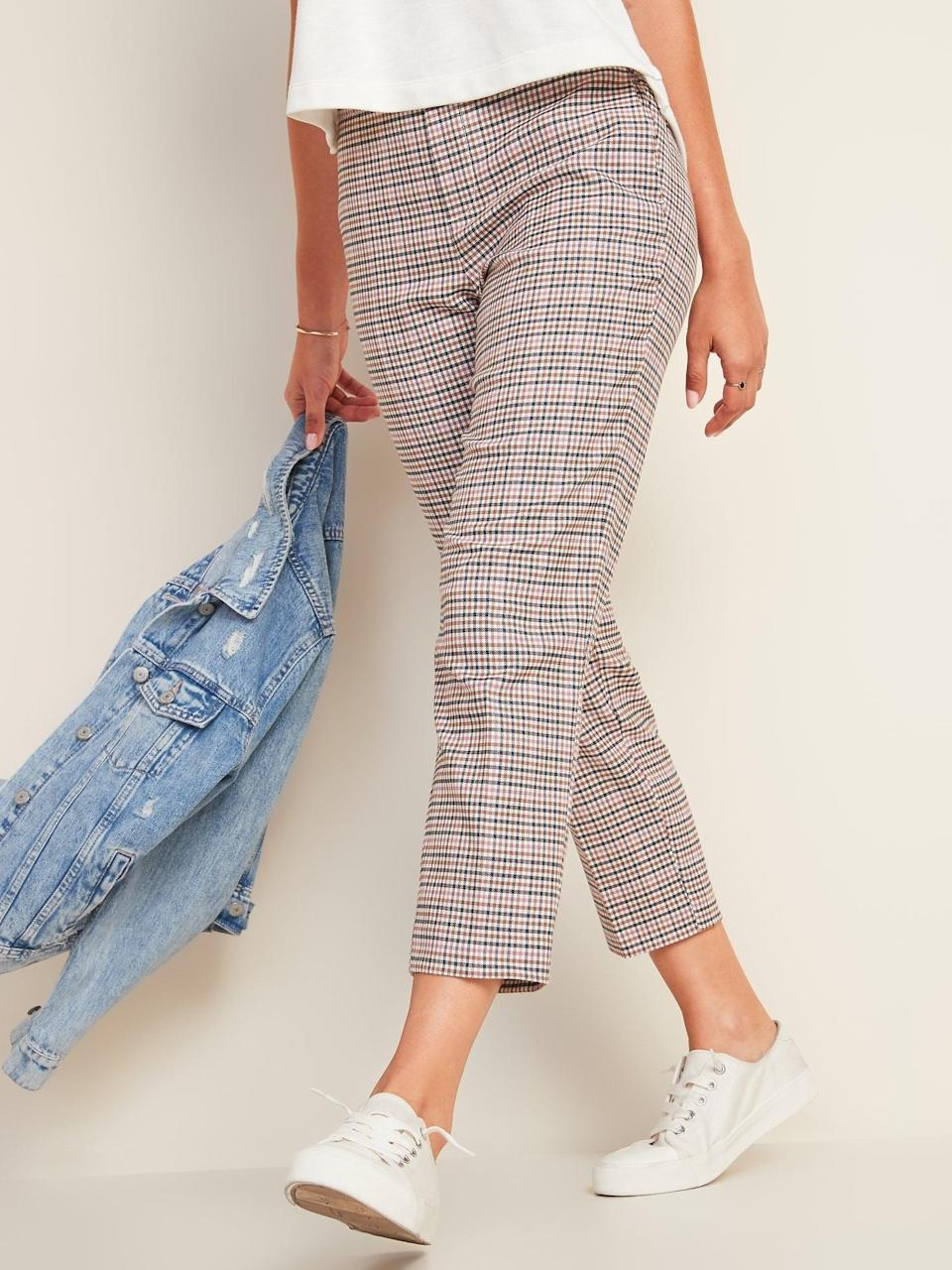 <p>If you love plaid, opt for these <span>Old Navy Mid-Rise Straight Plaid Pull-On Ankle Pants</span> ($40).</p>