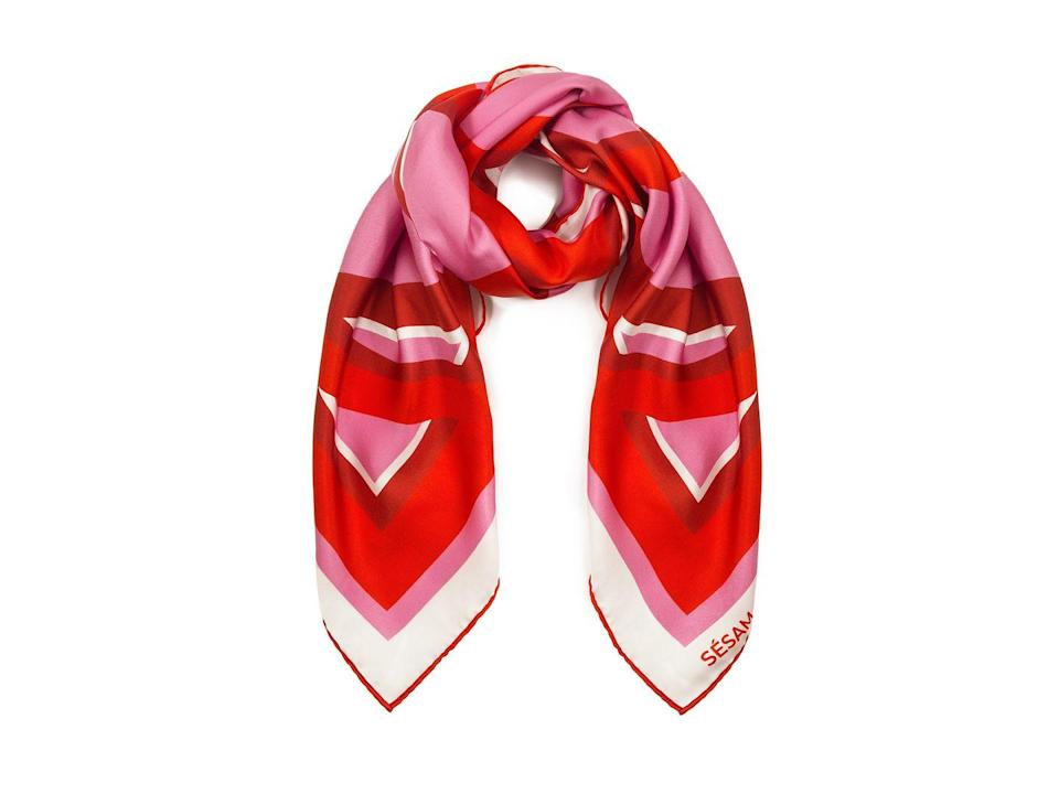 """<p>Silk scarves are a key trend this spring/summer, whether worn on your head, around your neck or even as a top.</p><p><a class=""""link rapid-noclick-resp"""" href=""""https://sesamofficial.com/collections/all/products/the-modernist-femme-silk-scarf?variant=33005320863821"""" rel=""""nofollow noopener"""" target=""""_blank"""" data-ylk=""""slk:SHOP NOW"""">SHOP NOW</a> </p><p>£280, Sésam.</p>"""